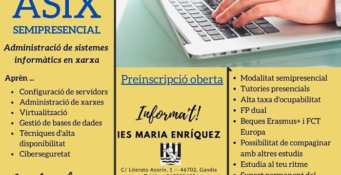 NOU CICLE SEMIPRESENCIAL ADMINISTRACIÓ DE SISTEMES INFORMÀTICS EN XARXA